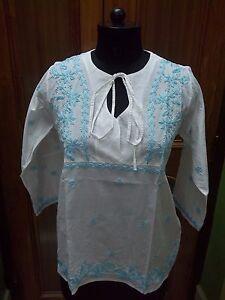 """100% Coton M 41"""" Xl 45"""" Handmade Top Kurta Ethnic Kurti Tunique Chikan Embroidery-afficher Le Titre D'origine Clair Et Distinctif"""