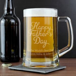 Personalised Happy Fathers Day Glass Pint Beer Tankard Dad Daddy