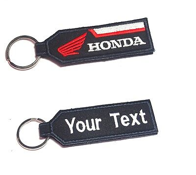 VESPA KEYCHAIN CUSTOM TEXT NAME  MOTORCYCLE EMBROIDERED TAG KEY RING HOLDER