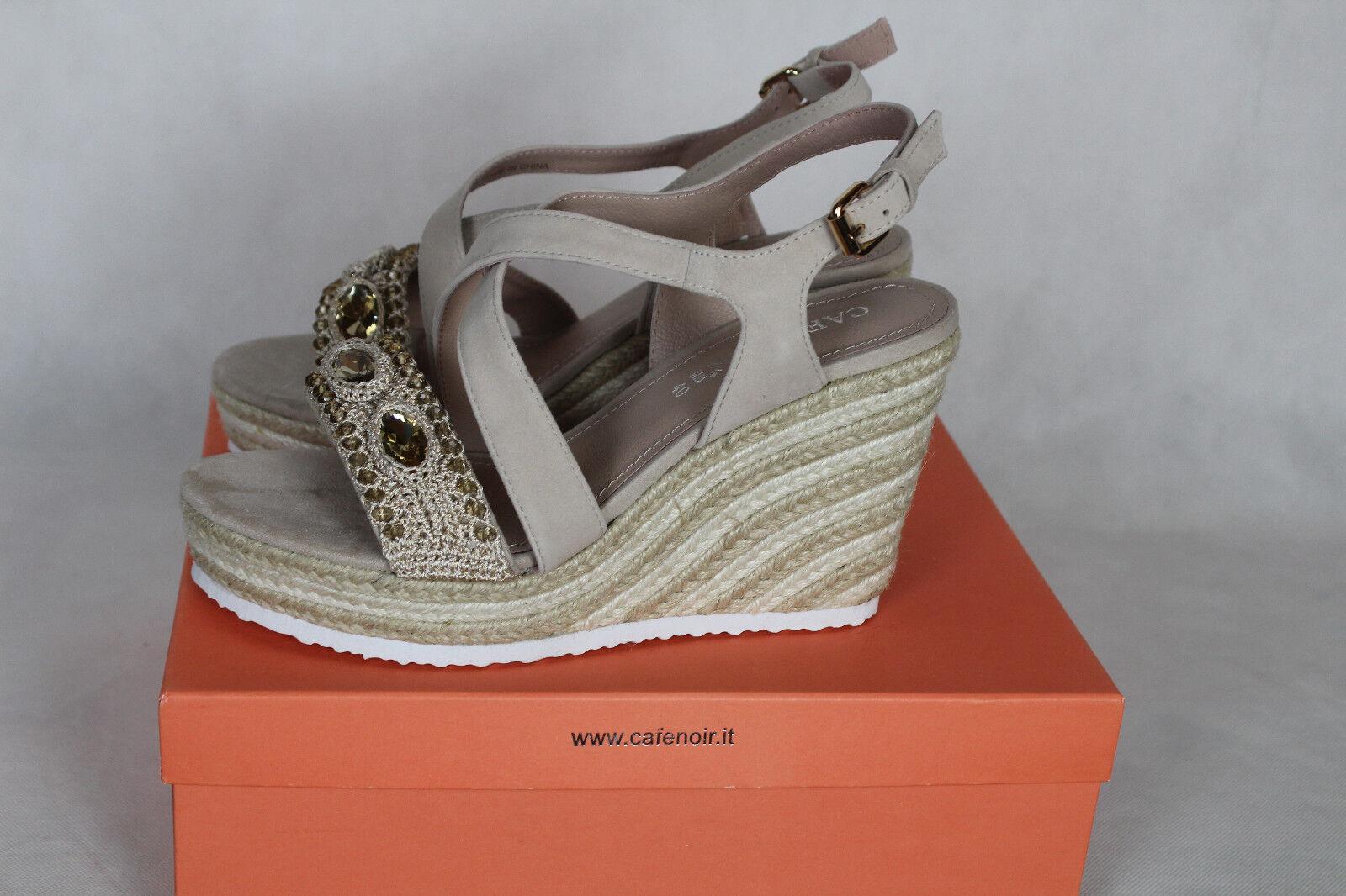 Cafenoir mhg551 196 Sabbia Plate-forme sandales compenses, Femmes Taille 40,neu, LP