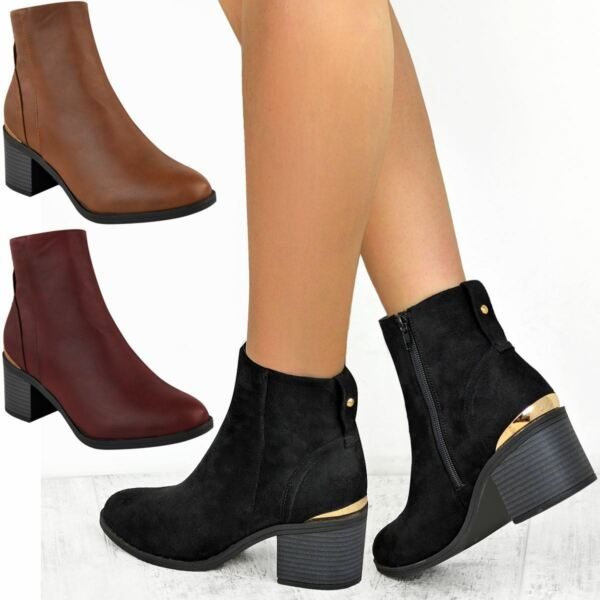SistemáTico Mujer Damas Tacón Bajo Bloque Chelsea Botas Al Tobillo Zapatos Informales Negro Cremallera Hasta-ver Para Aclarar La Molestia Y Calmar La Sed