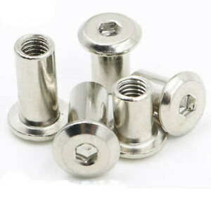 M8 Sleeve Nuts Hexagon Socket Flat Head Plated Nuts in Various Sizes Pack of 10