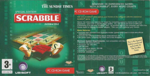 SCRABBLE NEWSPAPER PROMO CD-ROM ALSO HAVE MONOPOLY /& TRIVIAL PURSUI FREE UK POST