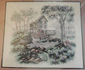 NIP Old Mill Counted Cross  Stitch Kit Mill Water Wheel Trees Stream Janlynn