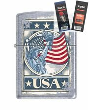 Zippo 207 Statue of Liberty Flag USA Lighter with *FLINT & WICK GIFT SET*