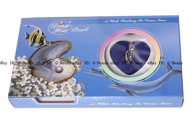 """Love Wish Pearl Kit Heart 12x22mm Cage 16"""" chain Necklace Great Gift box"""
