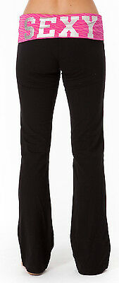 """Rampage Intimate Women Yoga Pants /""""I love My Bed/""""  NWT Black//Gray Black//Red"""