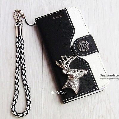 Deer phone wallet flip case Handmade Card stand cover For iPhone 4 5 6 7 8 Plus