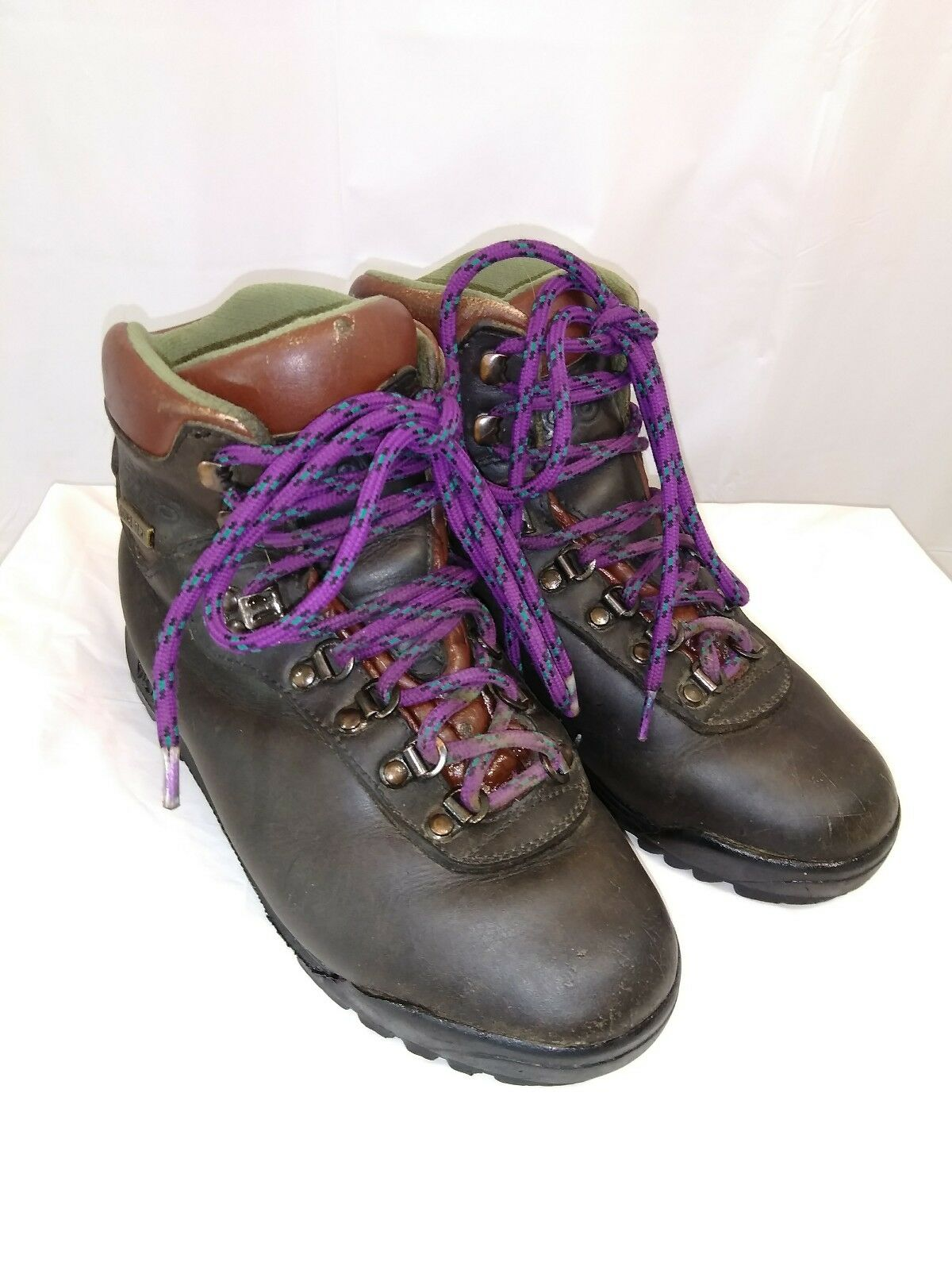 Asolo AFX 520 Brown Leather & Gore-Tex Hiking Boots Vibram Sole Woman's Size 8