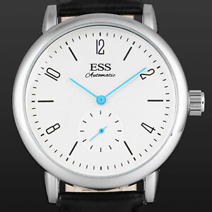 ESS-Mens-Watch-Mechanical-Automatic-Blue-Hand-Faux-Leather-Strap-Germany-Luxury