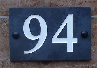 High Quality Deep Engraved Natural Honed Slate House Number Signs Plaque 1-9999