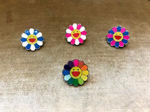 b7dfb14d2 Kaikai Kiki Takashi Murakami Flower Pin Badge Rainbow Blue Pink with ...