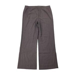 $378 Lafayette 148 NY Menswear Trouser SIZE 14 Women Brown Wide Leg Dress Pant