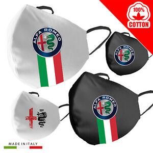 Mascherina-Cotone-Alfa-Romeo-Personalizzata-100-Made-in-Italy-adulto-bambino