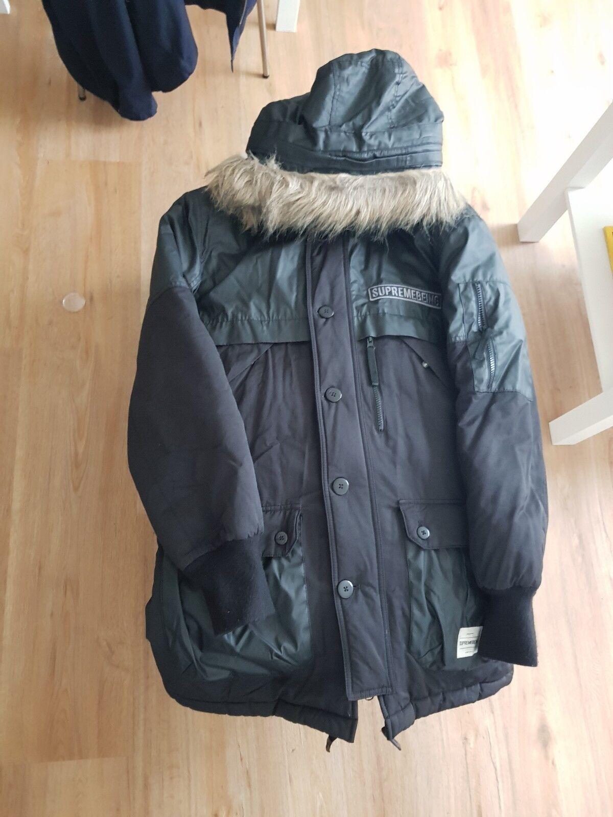 Supremebeing detachable fur hood padded parka Coat