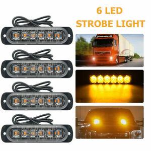 4X-Car-Truck-6-LED-Strobe-Light-Flash-Emergency-Hazard-Warning-Amber-Lamp-12-24V