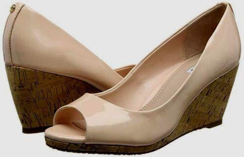 £ 65 Dune Taille 3 7 caydence nude blush brevet Mi Liège Talon Compensé Chaussures Sandales