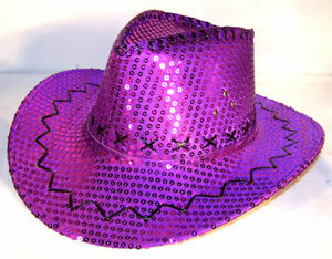 Image is loading SEQUIN-PURPLE-COWBOY-HAT-western-costume-mens-ladies- 40e350a8a451