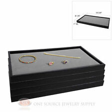 (4) Black Plastic Stackable Trays w/ Gray Velvet Pad Display Jewelry Inserts