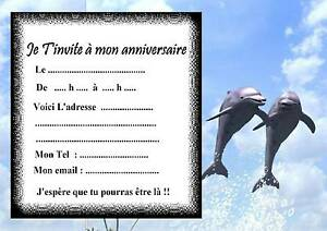 Carte Anniversaire Dauphin.5 Cartes Invitation Anniversaire Dauphin 02 D Autres Articles En