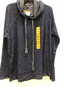 Kenneth Cole NY Womens Hoodie Sweatshirt  Black//White Heathers Size Large NWT
