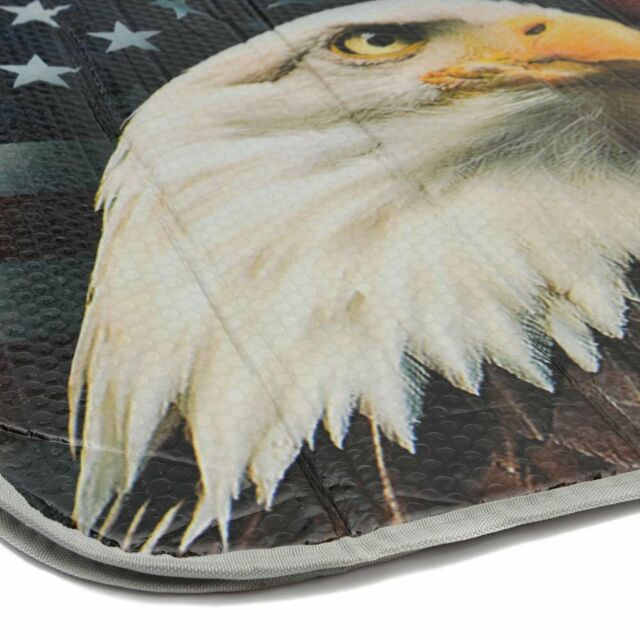Britimes Car Sun Shade for Windshield 51x28 inches Bald Eagle American Flag Protector for All Vehicles and Keep Your Vehicle Cool
