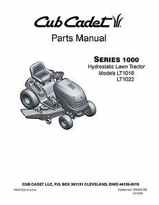 cub cadet parts manual model no lt 1018 lt 1022 ebay rh ebay com cub cadet user manual cub cadet user manual