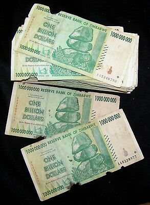 100 x Zimbabwe 5 Billion Dollar banknotes-2008//AA/&AB//DAMAGED CONDITION BUNDLE