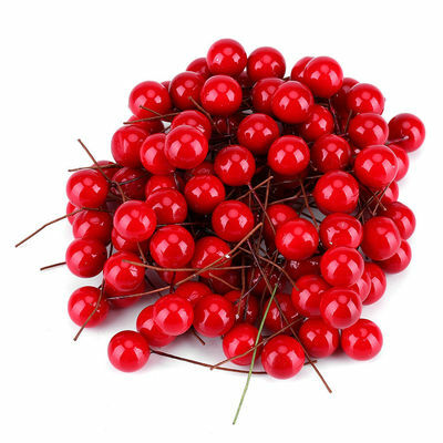 100X 10mm Mini Artificial Red Holly Berry Christmas Tree Home Hanging Decoration