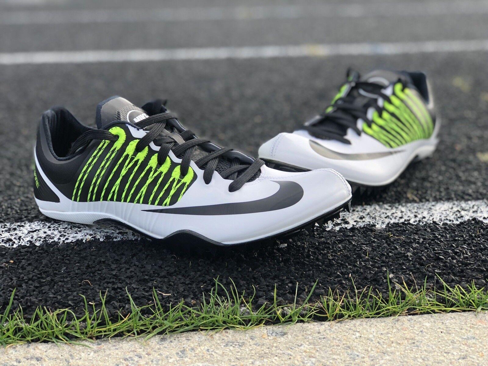 Nike Zoom Celar 5 Sprint Track Spikes White Black Green 629266-107 Size  Men's 8