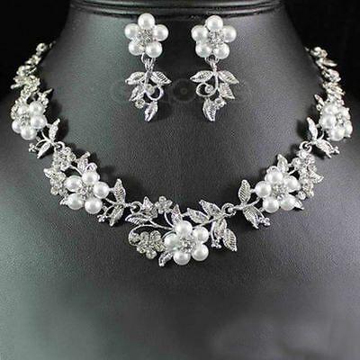 Hot Delicate Flower Pearl Austrian Crystal Necklace Earrings Wedding Jewelry Set