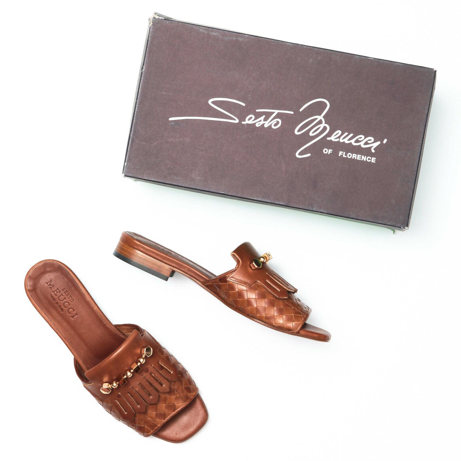 Seso Meucci Gavan  Cuoio Marronee Woven Calf Leather Sandals - Dimensione 8  promozioni di sconto