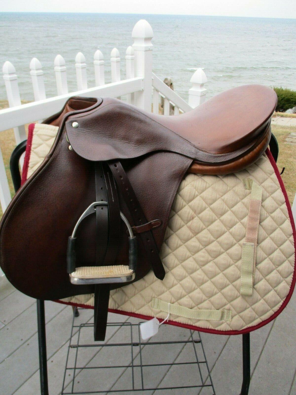 18 Narrow Zaldi ladyard CC inglese Saddle w Leathers & kiefer jointed irons