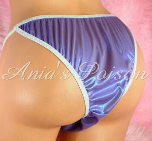 Sissy Satin Folie Herren Slip Brasilianischer Winzig Frecher Bikini Violett Blau