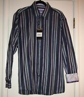 Zagiri Kml-2369 Any Way You Want It Blue Stripe Casual Dress Shirt $145 Sz L