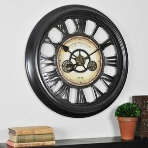 Large Moving Gear Wall Clock Roman Numerals Rustic Industrial