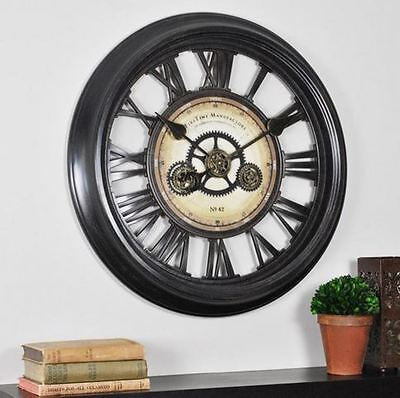 Large Moving Gear Wall Clock ~ Roman Numerals ~ Rustic Industrial  Decor ~ 24""