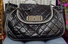 c0c67b13cfe8 CHANEL designer large black quilted lambskin leather shoulder bag satchel   Auth.