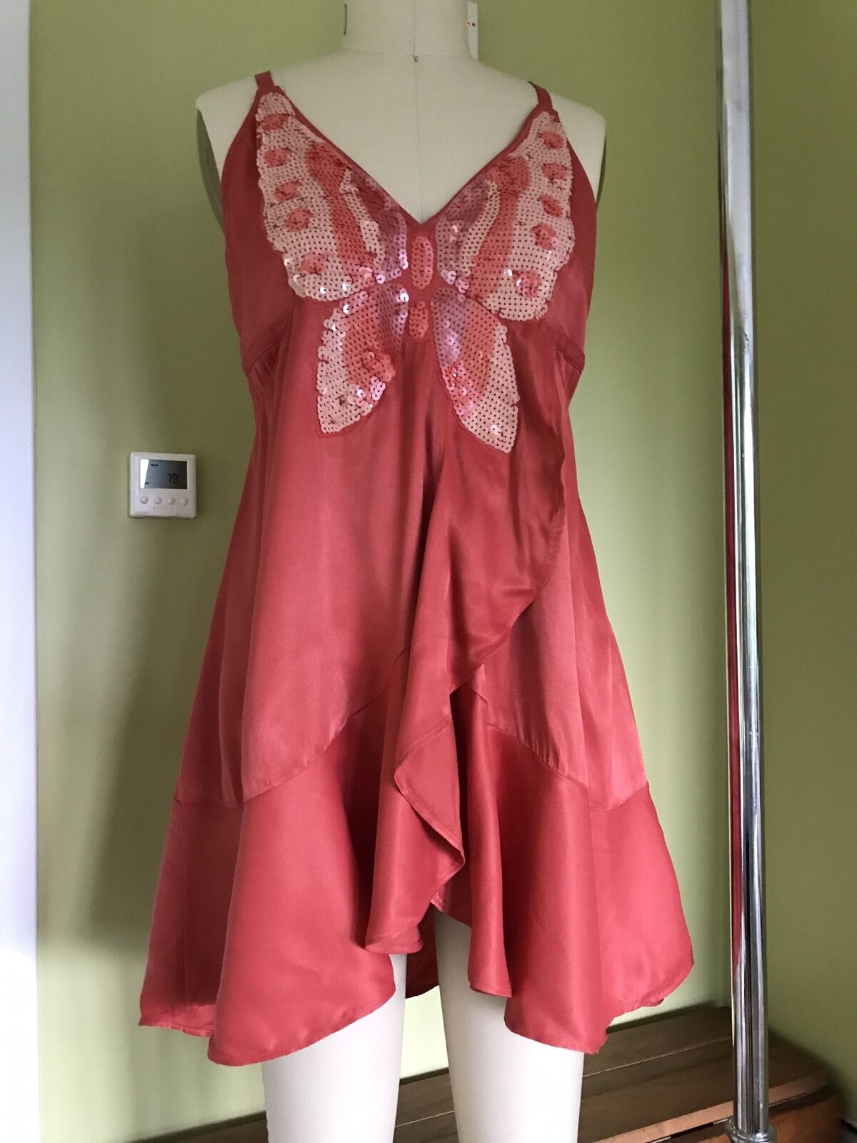 NEW Free People Coral Red Butterfly Sequin Mini Dress Ruffle Babydoll  12