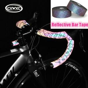 CXWXC 2pcs Bicycle Handlebar Tape PU Pink Reflective MTB Road Bike Bar Tapes