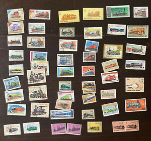 WW LOT OF 50+ TRAINS LOCOMOTIVES STAMPS INCLUDING MANY WORLDWIDE COUNTRIES