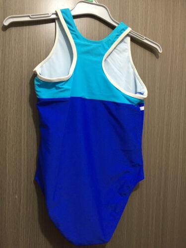BNWT Girls Sz 16 Racer Back Aqua//Blue Junior Zone One Piece Swim Suit Bathers