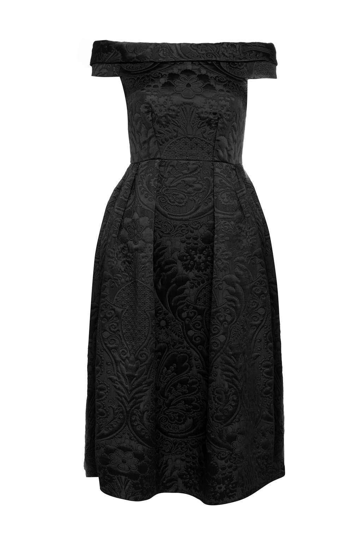 Closet Nero fuori la spalla Paisley Jaquard Dress 10