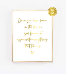 Gold Foil Quote Print Inspirational Poster Wall Art Cute