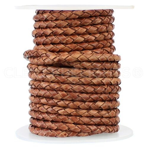 """1//8/"""" Braided Leather Bolo Cord Brown Genuine Leather Jewelry 4mm"""