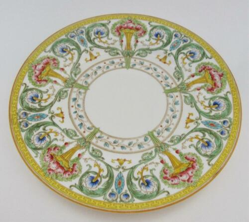 "Yellow Urn Roses 10 3//4/"" Dinner Plate Royal Worcester Z698//2 Greek Key"