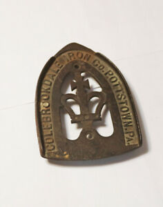 Antique-Vintage-Coalbrookdale-Iron-Co-Pottstown-PA-Sad-Iron-Trivet-Maltese-Cross