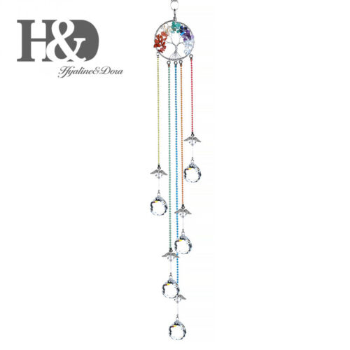 Healing Stone Tree of Life Suncatcher Angel Crystal Prisms Ball Pendants Hanging
