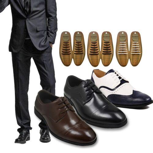 12PCS No Tie Shoelaces Silicone Shoe Laces Men Formal Dress Shoes Boots Strings
