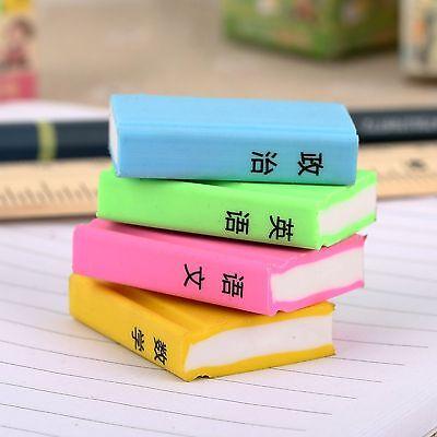4 Pcs Lovely Books Shape Rubber  Pencil Eraser Good Stationery Prize for Student